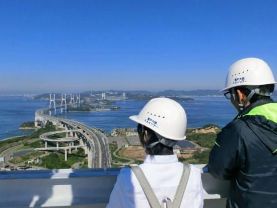 瀬戸大橋の主塔に登るツアーは人気が高い(香川県坂出市)