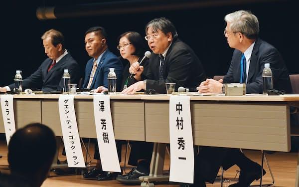 討論するパネリストら(15日、東京都中央区)