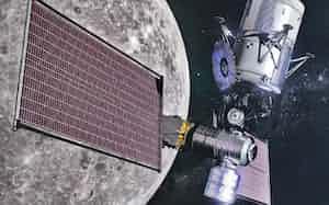 月周回軌道の新しい宇宙ステーション「ゲートウエー」(米国が有人月面着陸をめざす2024年時点のイメージ)=NASA提供