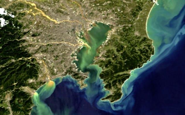 地球観測衛星「しきさい」による土砂が海に流れ出た様子の画像(13日午前10時55分ごろ撮影)=宇宙航空研究開発機構提供・=共同