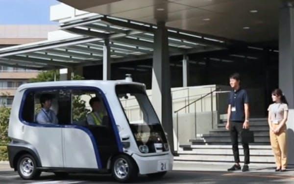 大阪府の本社敷地内で4人乗り自動運転車の運行実験を始めた