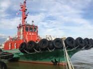 17日に竣工した日本海曳船のタグボート「朱鷺丸」