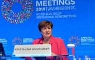 IMFのクリスタリナ・ゲオルギエバ専務理事(17日、ワシントン)=ロイター