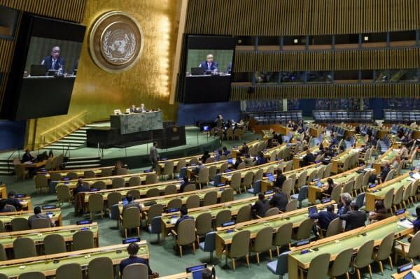 国連人権理事会の選挙を行った、国連総会(17日、ニューヨーク)=国連提供