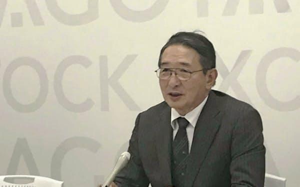 18日記者会見した浜木綿の林永芳社長(名証)