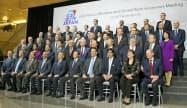 17日、G20会議に参加する各国の財務相と中央銀行総裁ら(共同)