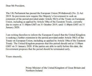 ジョンソン英首相は、法律に基づくEU離脱延期申請の書簡には署名しなかった(英首相官邸が公表した書簡のPDFから作成)
