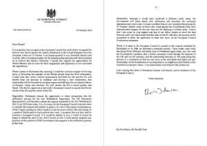 ジョンソン英首相はトゥスクEU大統領宛ての書簡では自署したうえで、10月末離脱をめざす立場を説明した(英首相官邸が公表した書簡のPDFから作成)