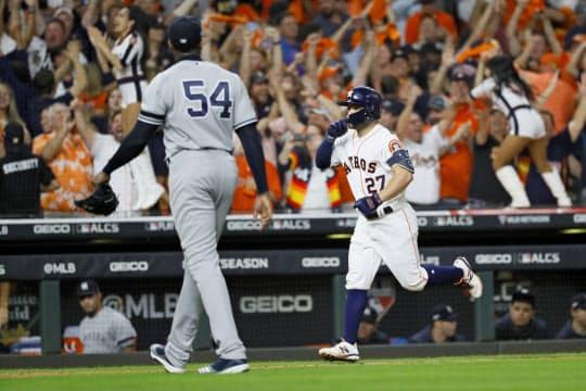 アストロズのアルテューベにサヨナラ2ランを打たれ、ヤンキースの「世界一」への道はついえた=AP