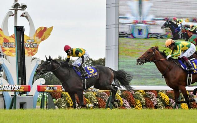 菊花賞で優勝した武豊騎乗のワールドプレミア(左)=共同