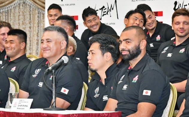 リーチ主将「8強は誇り」 ラグビー日本代表会見