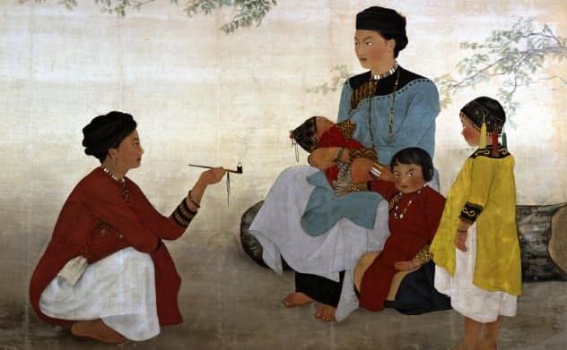 陳進(チェン・ジン)「サンティモン社の女」(1936年、顔料、絹、147.7×199.9センチ、福岡アジア美術館蔵)