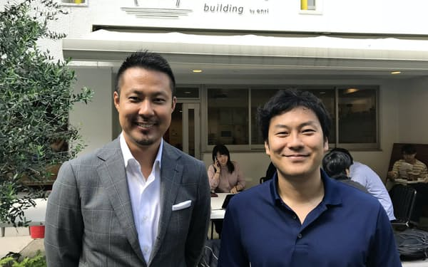 ANRIの佐俣安理代表(右)と河野純一郎氏