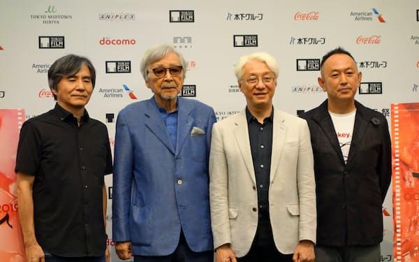 東京国際映画祭の上映作品を手がけた日本の映画人たち(左から脚本家・中島かずき氏、山田洋次監督、手塚眞監督、足立紳監督)