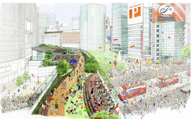 銀座の高速、緑の遊歩道に 中央区が東京都に提案