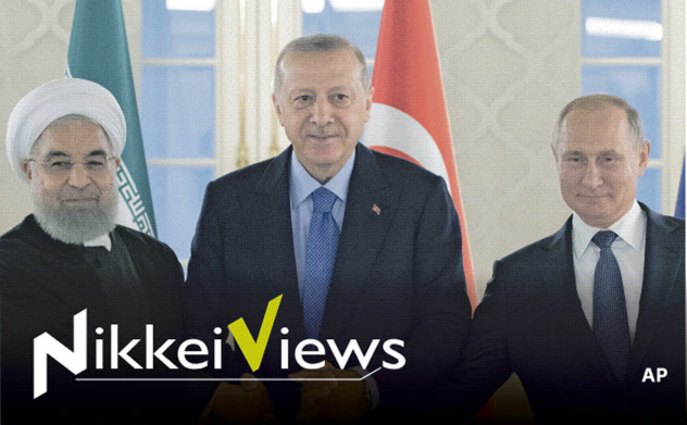 プーチン大統領(右)は中東の大国と良好な関係を築く(左からロウハニ・イラン大統領、エルドアン・トルコ大統領、9月16日、アンカラで)=AP