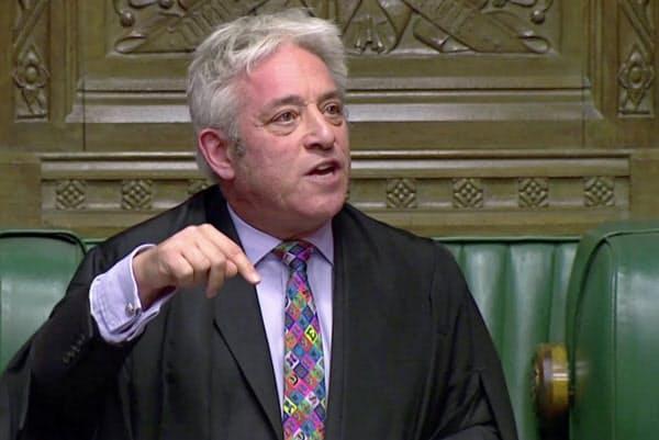 英議会下院のバーコウ議長は、英政府とEUの離脱協定案の審議を却下した(21日、英下院のテレビ中継から)=ロイター