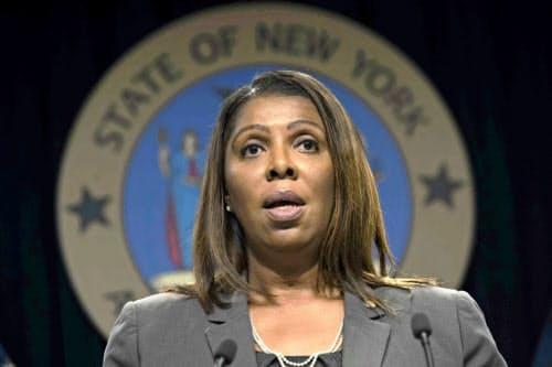 ニューヨーク州のジェームズ司法長官は9月にフェイスブックへの調査開始を表明した=AP