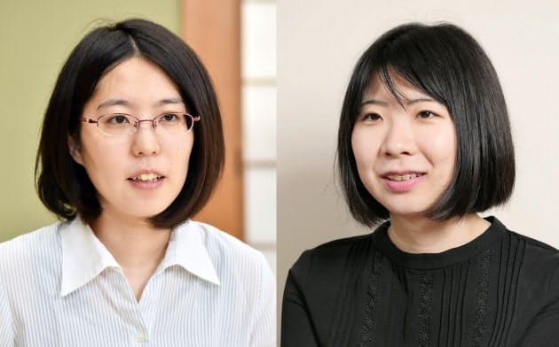 里見香奈女流王座(左)と西山朋佳女王