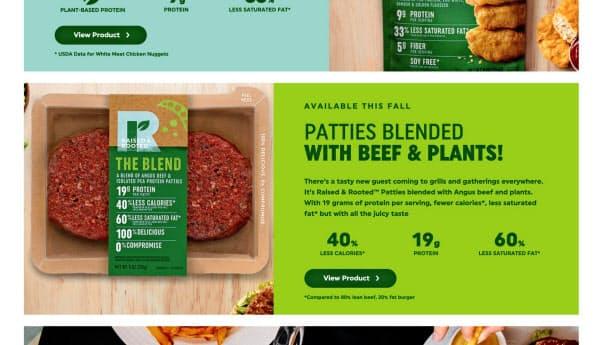 米タイソン・フーズは牛肉とエンドウ豆のたんぱく質などを混ぜたパティを発売