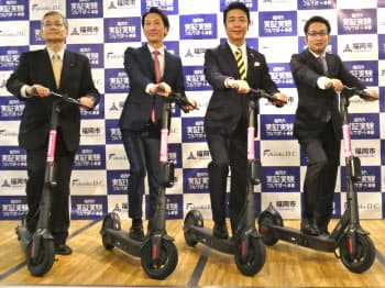 実証実験は福岡市などと連携し、九大伊都キャンパスで実施(24日、福岡市役所)