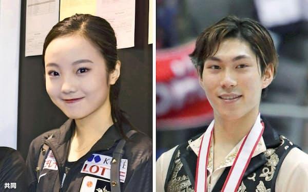 フィギュアスケートの本田真凜選手(左)、田中刑事選手=共同
