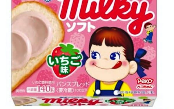 雪印メグミルクの「ミルキー ソフト いちご味」。パンに合う練乳といちご味に仕上げた
