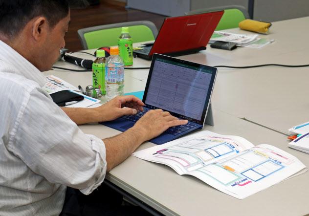 尼崎信用金庫が実施したセミナーで「経営デザインシート」に書き込む経営者(尼崎市)