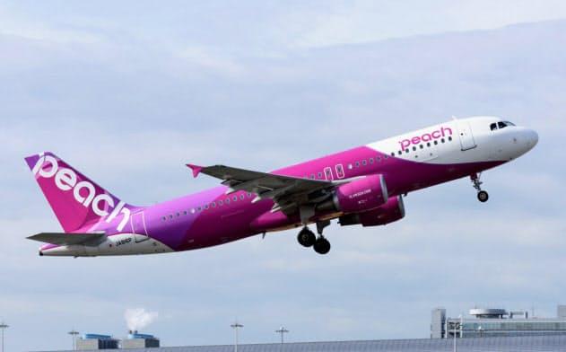 関西空港を離陸するピーチの旅客機