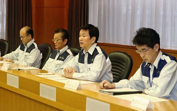 千葉県は災害対策本部会議を開き、大雨対策を協議した(25日、千葉県庁)