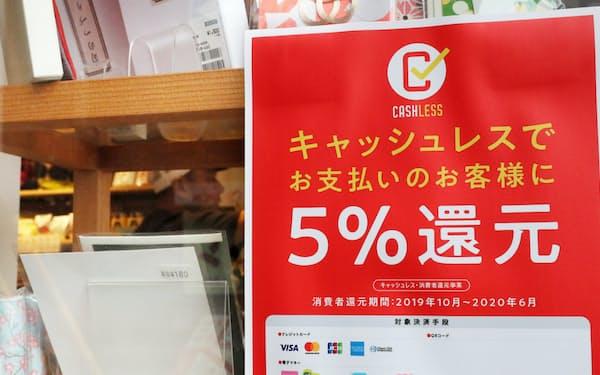 キャッシュレス決済を利用した客へのポイント還元を知らせるポスターが張られた雑貨店(東京都杉並区)