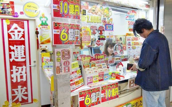 宝くじの売上額は年々減少している(大阪市北区)