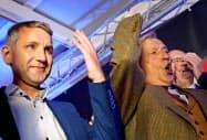 独州議会選挙での躍進を喜ぶ極右、ドイツのための選択肢(AfD)幹部=ロイター