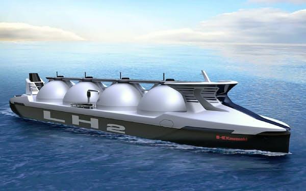 川崎重工などが進める水素輸入の実証に参加する(川重が開発している液化水素運搬船のイメージ)