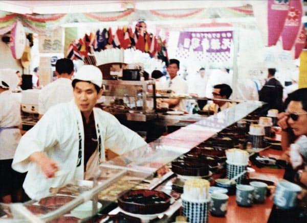 万博に出店した回転ずし店の「廻る元禄寿司」