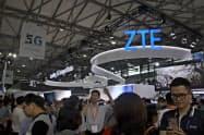 ZTEは中国のほか欧州やアジアで「5G」の基地局の出荷を拡大した(上海市での展示)