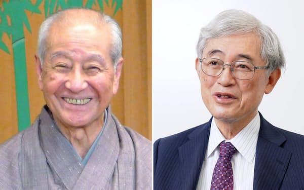 東京大学名誉教授 佐々木毅さん(右)と能楽師(和泉流狂言方)野村萬さん