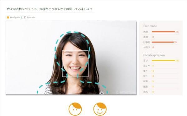 リクルートスタッフィングが導入した感情認識AI(人工知能)を活用した笑顔のトレーニングシステム(写真はサービス画面のイメージ)