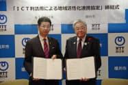 ICT利活用に関する連携協定書を掲げる東村新一福井市長(右)とNTT西の小林充佳社長(10日、福井市役所)