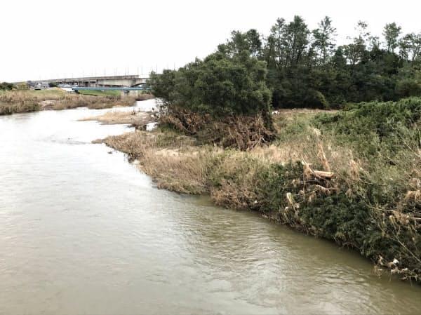 阿武隈川の堤防未整備地域(福島県郡山市の永徳橋から)