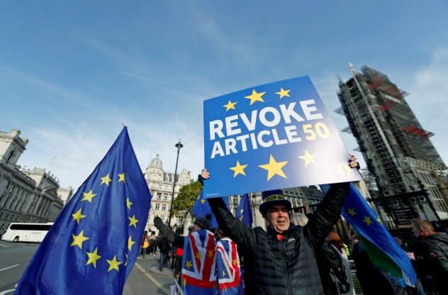 30日、英国会議事堂周辺ではEU離脱反対を訴えるデモが行われた=ロイター
