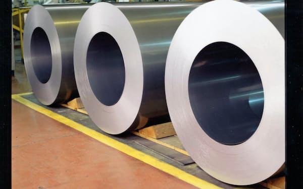 自動車の電動化などを背景に需要が増えている(八幡製鉄所で生産している電磁鋼板)