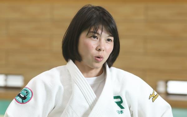 オリンピックは「特別な大会」と話す福見友子(2019年10月、東京都品川区のJR東日本柔道部柔道場)