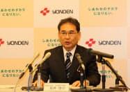 四国電力の長井啓介社長は贈答品授受のルールを見直す方針を示した