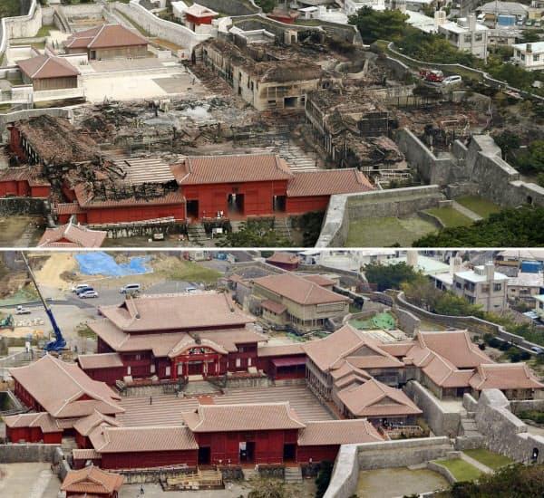 火災で正殿などが焼失した首里城(31日午後)。下は2012年10月の様子=那覇市(共同)