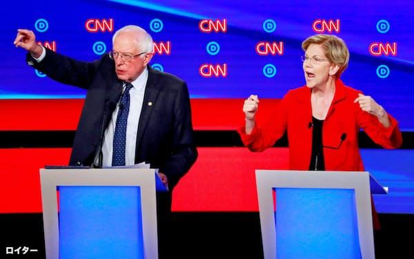 米民主党の大統領候補のサンダース氏(左)とウォーレン氏は移民受け入れと大きな政府の両立を目指している=ロイター