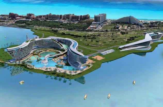 メキシコ東部のリゾート地、カンクンに建設予定の大型ホテルと会議場の完成予想図(メキシコ観光省提供)