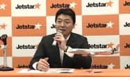 片岡社長はA321LRに対し「東南アジアの有名リゾート地はほぼカバーできる」と期待を寄せる(1日、東京都港区)