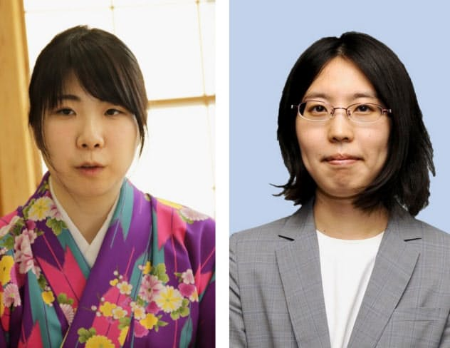 西山朋佳・新女流王将(左)と里見香奈・前女流王将=共同