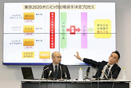 記者会見する日本山岳・スポーツクライミング協会の合田雄治郎常務理事(右)ら=共同